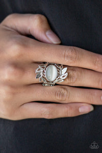Paparazzi Garden Dew - White - Moonstone - Leafy Silver Frames - Ring - Lauren's Bling $5.00 Paparazzi Jewelry Boutique