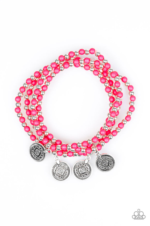 Paparazzi Gypsy Globetrotter - Pink - Set of 4 Stretchy Band Bracelets - Lauren's Bling $5.00 Paparazzi Jewelry Boutique