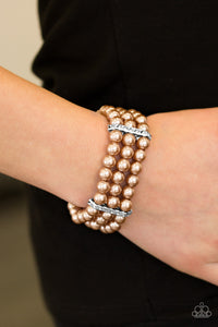 Paparazzi Royal Wedding - Brown Pearls - White Rhinestones - Stretchy Band Bracelet - Lauren's Bling $5.00 Paparazzi Jewelry Boutique