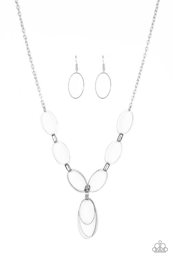 Paparazzi All OVAL Town - Silver - Double-Linked Oval Frames - Necklace and matching Earrings - Lauren's Bling $5.00 Paparazzi Jewelry Boutique