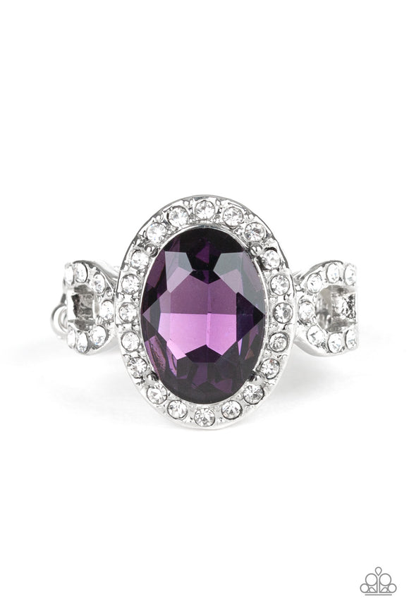 Paparazzi Magnificent Majesty - Purple Gem - White Rhinestones - Dainty Band Ring - Lauren's Bling $5.00 Paparazzi Jewelry Boutique