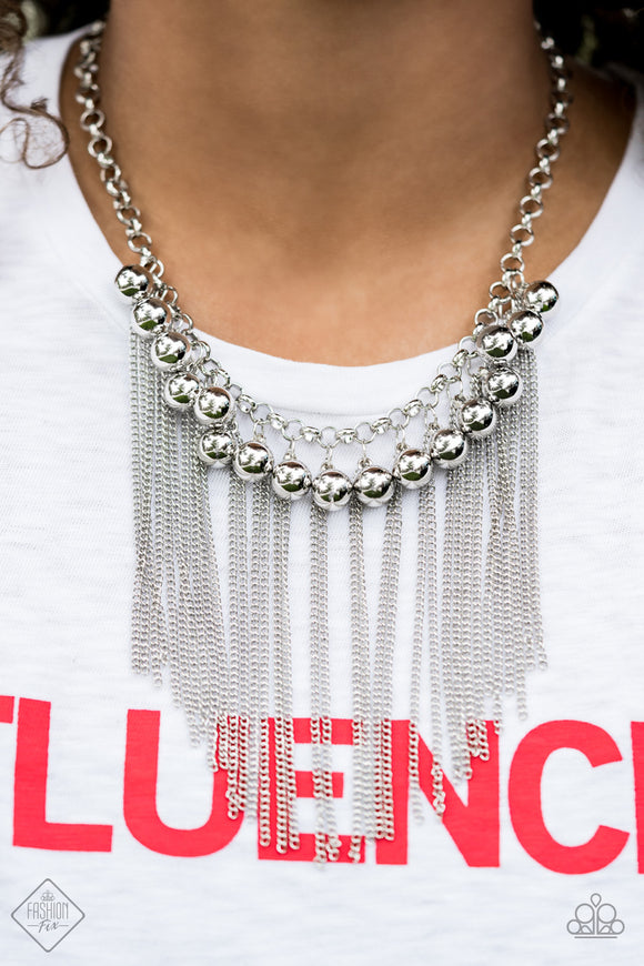 Paparazzi Powerhouse Prowl - Silver Beads - Silver Chunky Chain Necklace - Fashion Fix / Trend Blend Exclusive August 2019