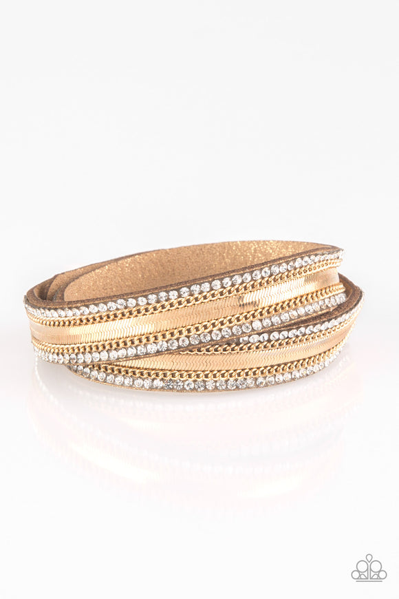 Paparazzi Rocker Rivalry - Gold - White Rhinestones - Suede Band - Double Wrap Bracelet