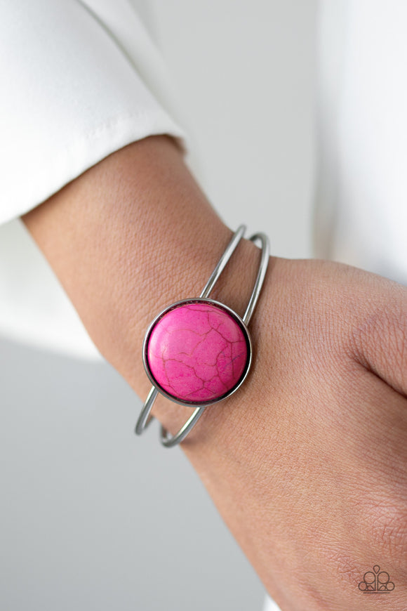 Paparazzi Sandstone Serenity - Pink Stone - Silver Cuff Bracelet - Lauren's Bling $5.00 Paparazzi Jewelry Boutique