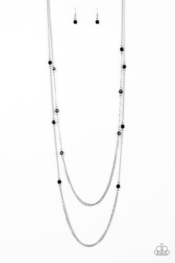 Paparazzi Sparkle Of The Day - Black Rhinestones - Layered Silver Chains Necklace and matching Earrings