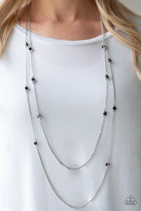Paparazzi Sparkle Of The Day - Black Rhinestones - Layered Silver Chains Necklace and matching Earrings - Lauren's Bling $5.00 Paparazzi Jewelry Boutique