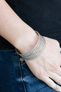 Paparazzi Stack Shack - Silver - Diamond Cut Silver Bars - Cuff Bracelet - Lauren's Bling $5.00 Paparazzi Jewelry Boutique