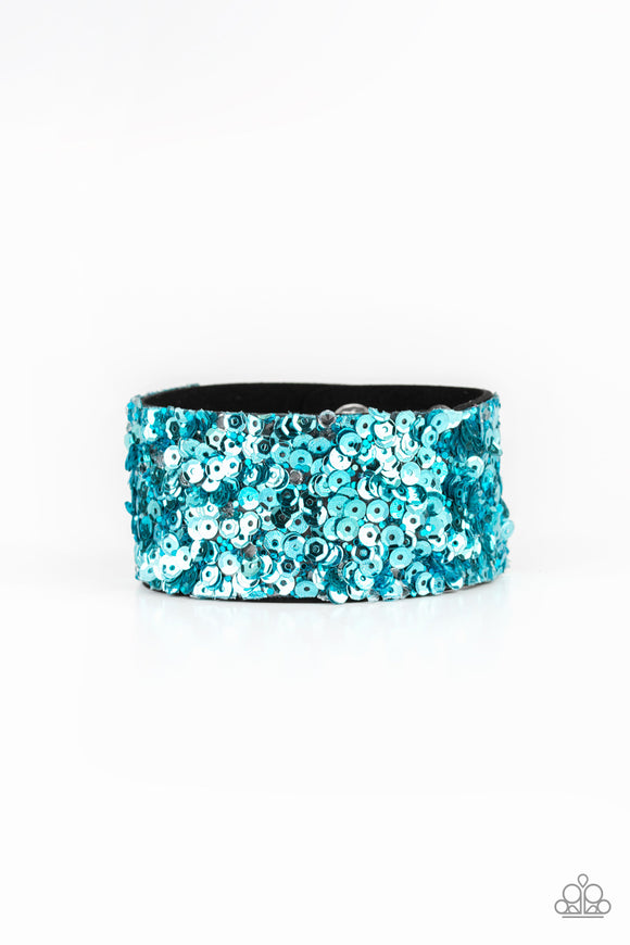 Paparazzi Starry Sequins - Blue - Rhinestones and Sequins - Black Suede Band - Bracelet