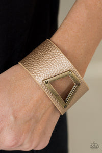 Paparazzi Power Play - Brass - Metallic Shimmer - Thick Leather Wrap Bracelet - Lauren's Bling $5.00 Paparazzi Jewelry Boutique