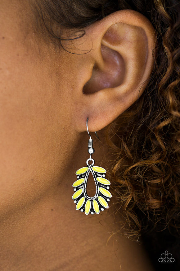 Paparazzi Rainforest Romance - Yellow - Earrings - Lauren's Bling $5.00 Paparazzi Jewelry Boutique