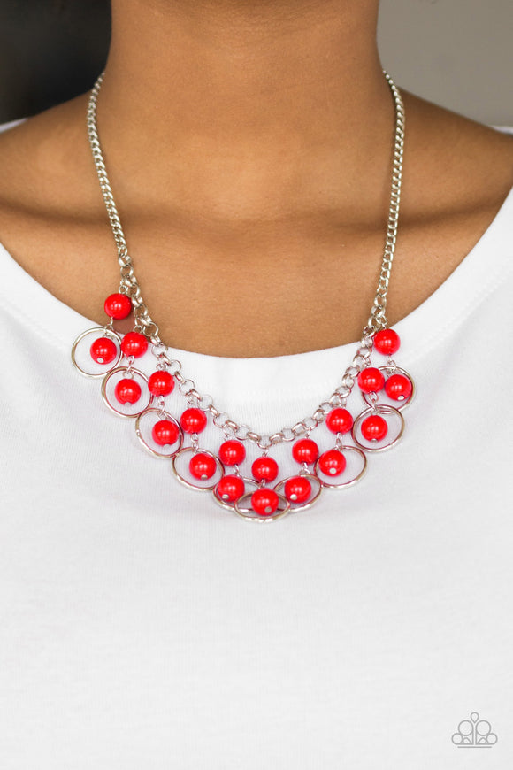 Really Rococo - Red Necklace - Lauren's Bling $5.00 Paparazzi Jewelry Boutique