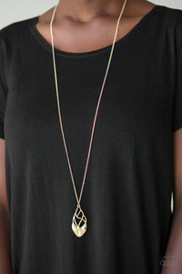 Paparazzi Swank Bank - Gold - Twisting Hammered Pendant - Necklace & - Lauren's Bling $5.00 Paparazzi Jewelry Boutique