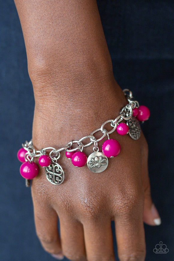 Paparazzi Lotus Lagoon - Pink Beads - Silver Flower Charms - Bracelet - Lauren's Bling $5.00 Paparazzi Jewelry Boutique