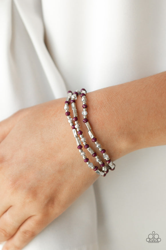 Paparazzi Micro Magic - Purple / Plum Beads - Silver Stretchy Band - Set of 3 Bracelets - Lauren's Bling $5.00 Paparazzi Jewelry Boutique