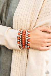 Paparazzi Pop-YOU-lar Culture - Orange Beads - Shiny Silver - Set of 5 Bracelets - Fashion Fix Exclusive November 2019 - Lauren's Bling $5.00 Paparazzi Jewelry Boutique