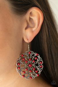 Paparazzi Rainbow Dew - Red Beads - Silver Frame Filigree - Earrings - Lauren's Bling $5.00 Paparazzi Jewelry Boutique