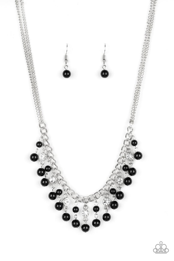 Paparazzi Regal Refinement - Black Beaded Tassels - White Rhinestones - Silver Chains Necklace and matching Earrings - Lauren's Bling $5.00 Paparazzi Jewelry Boutique