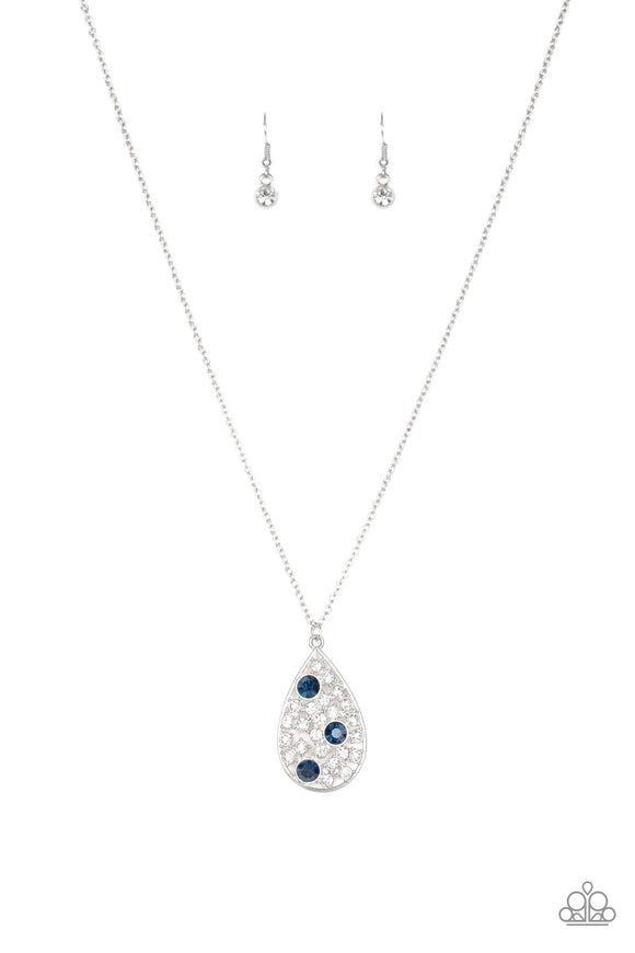 Paparazzi Sparkle All The Way - Blue Rhinestones - Teardrop Pendant - Necklace and matching Earrings - Lauren's Bling $5.00 Paparazzi Jewelry Boutique
