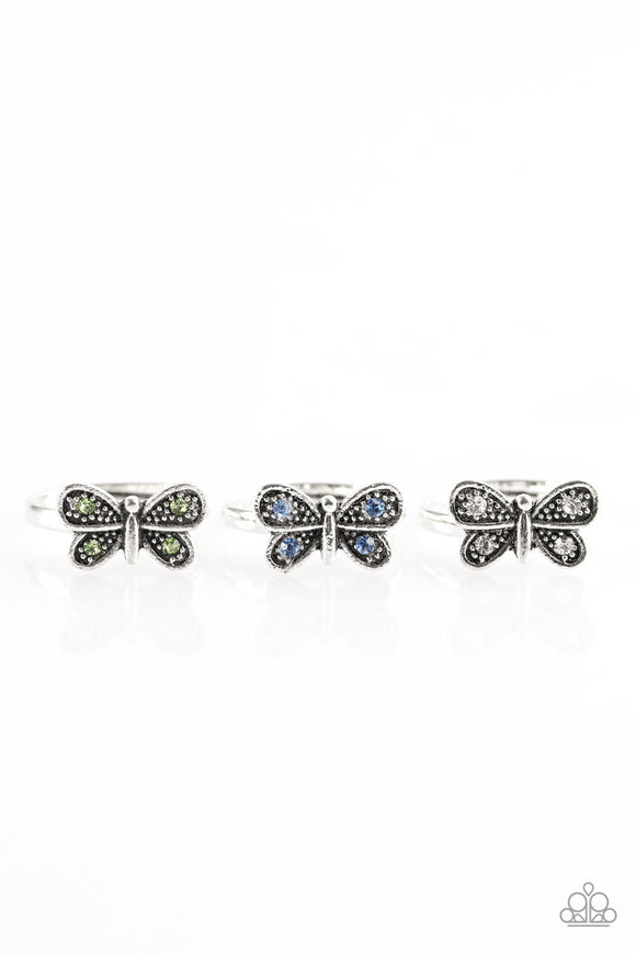 Paparazzi Starlet Shimmer Rings - 10 - Butterfly with Green, Blue, White and Pink Rhinestones