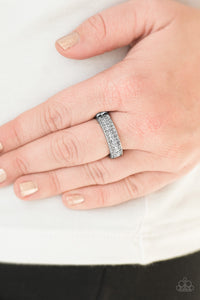 Paparazzi Turn The Other CHIC - Silver - Hematite Rhinestones - Dainty Band Ring - Lauren's Bling $5.00 Paparazzi Jewelry Boutique