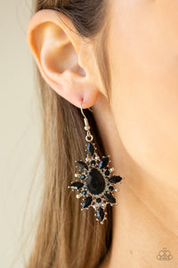 Paparazzi Glamorously Colorful - Black - Rhinestones and Marquise Black Beads - Teardrop Earrings - Lauren's Bling $5.00 Paparazzi Jewelry Boutique