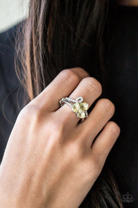 Paparazzi Friends In High-End Places - Yellow Teardrop Rhinestones - Dainty Band Ring - Lauren's Bling $5.00 Paparazzi Jewelry Boutique