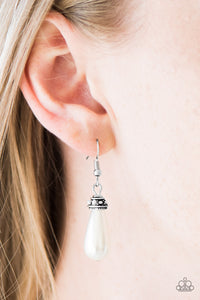 Paparazzi Making The World Jealous - White - Pearly Bead - Silver Ornate Earrings - Lauren's Bling $5.00 Paparazzi Jewelry Boutique