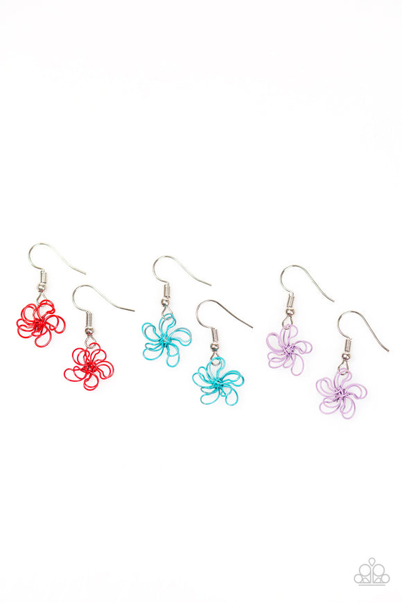 Paparazzi Starlet Shimmer Girls Earrings - 10 - Flowers Red, Blue Purple & Pink