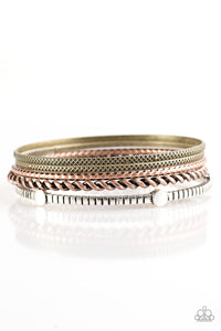 Paparazzi When The Going Gets Rough - Multi - Brass, Copper, Silver Bangles - Set of 5 - Lauren's Bling $5.00 Paparazzi Jewelry Boutique