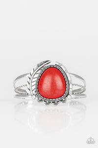 Paparazzi Natures Bounty - Red Stone - Antiqued Silver Feather - Cuff Bracelet - Lauren's Bling $5.00 Paparazzi Jewelry Boutique