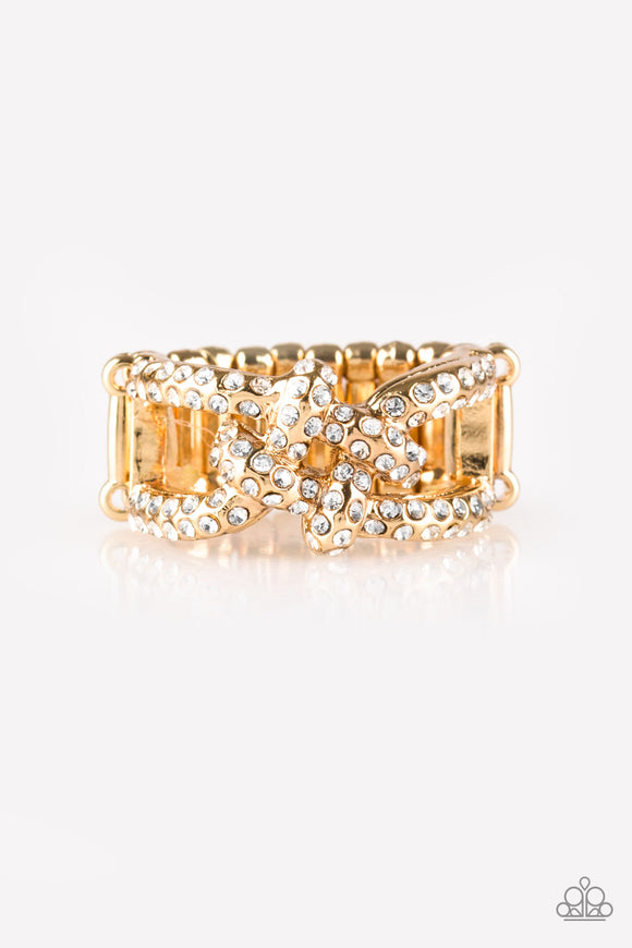 Paparazzi Can Only Go UPSCALE From Here - Gold - White Rhinestones - Ring - Lauren's Bling $5.00 Paparazzi Jewelry Boutique