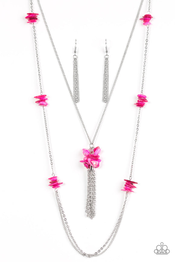 Paparazzi Cliff Cache - Pink Stone - Silver Necklace and matching Earrings - Lauren's Bling $5.00 Paparazzi Jewelry Boutique