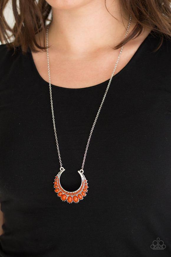 Paparazzi Count To ZEN - Orange Beads - Silver Chain Necklace and matching Earrings - Lauren's Bling $5.00 Paparazzi Jewelry Boutique