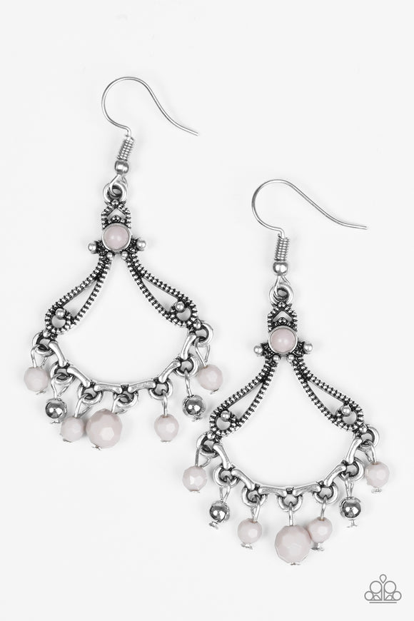 Paparazzi Dazzling Date Night - Silver - Gray Beads - Earrings