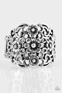 Paparazzi Divinely Daisy - Silver Daisies - Antiqued Shimmer - Ring - Lauren's Bling $5.00 Paparazzi Jewelry Boutique
