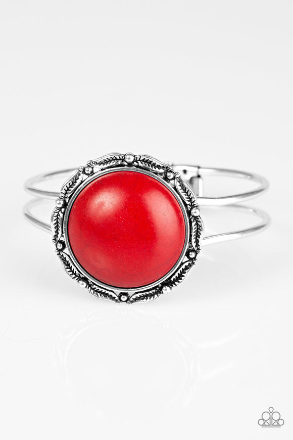 Paparazzi Mojave Harvest - Red Stone - Silver Hinged Bracelet - Lauren's Bling $5.00 Paparazzi Jewelry Boutique