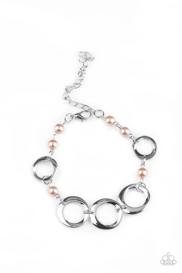 Paparazzi Poised and Polished - Brown Pearly Beads - Silver Hoops - Bracelet - Lauren's Bling $5.00 Paparazzi Jewelry Boutique