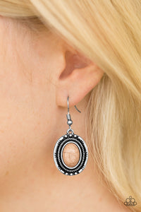 Paparazzi Shifting Sands - Brown Stone - Silver Earrings - Lauren's Bling $5.00 Paparazzi Jewelry Boutique
