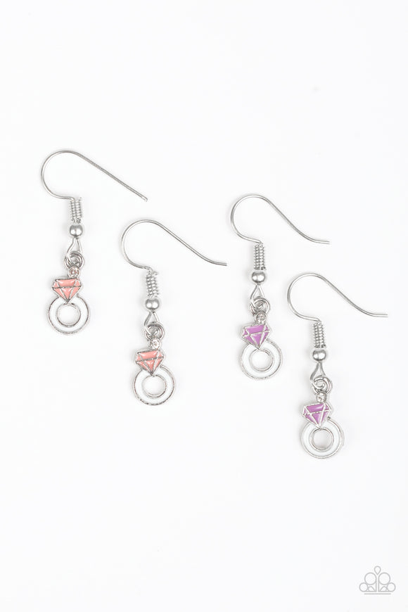 Paparazzi Starlet Shimmer Earrings - 10 - Diamond Pink, Purple, Blue - Lauren's Bling $5.00 Paparazzi Jewelry Boutique