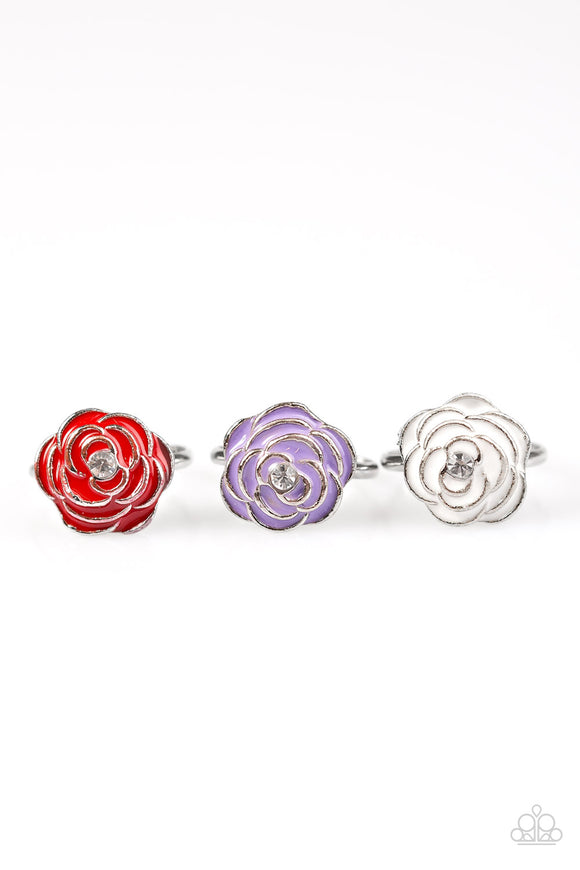Paparazzi Starlet Shimmer Rings - 10 - Large Roses - Red, Purple, Cream & Pink