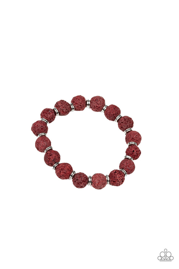 Paparazzi Luck - Red - Fired Brick Lava Rock Beads - Stretchy Band Bracelet