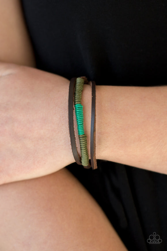 Paparazzi Give Me Some ROAM! - Green - Rustic Leather - Sliding Knot Bracelet - Lauren's Bling $5.00 Paparazzi Jewelry Boutique