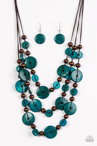 Paparazzi South Beach Summer - Blue Wooden Necklace and matching Earrings - Lauren's Bling $5.00 Paparazzi Jewelry Boutique