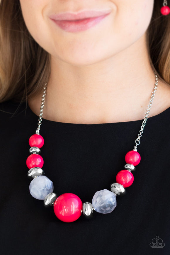 Paparazzi Daytime Drama - Pink Beads - Necklace & Earrings - Lauren's Bling $5.00 Paparazzi Jewelry Boutique