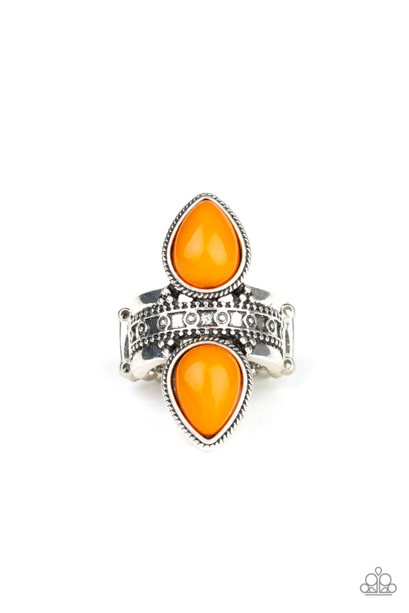Paparazzi New Age Leader - Orange - Teardrop Beads - Silver Ring