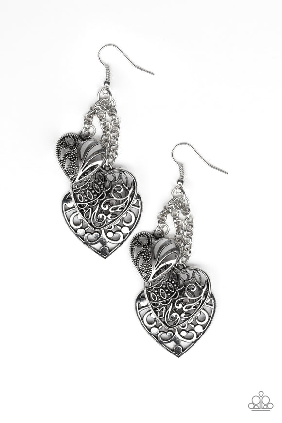 Paparazzi Once Upon A Heart - Silver - Filigree Hearts - Silver Chains - Earrings