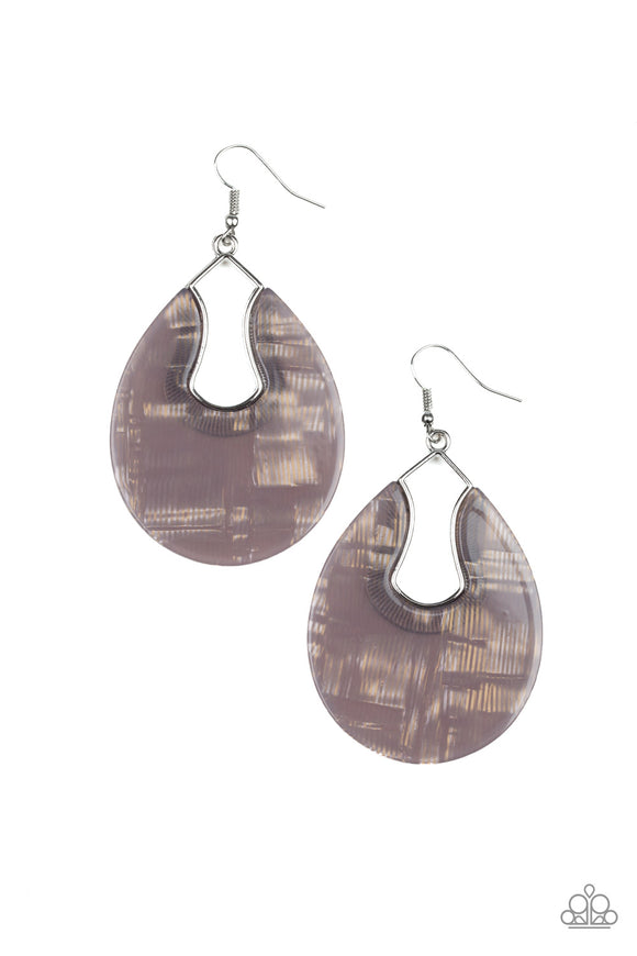 Paparazzi Pool Hopper - Silver - Faux Marble Acrylic - Earrings