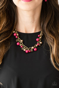 Paparazzi The GRIT Crowd - Pink - Pearly Brass Beads - Bold Brass Chain Necklace & Earrings - Lauren's Bling $5.00 Paparazzi Jewelry Boutique