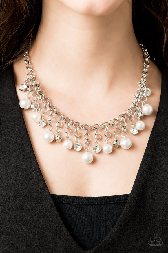 Paparazzi HEIR-headed - White Pearls - White Rhinestones Necklace - 2019 Convention Exclusive