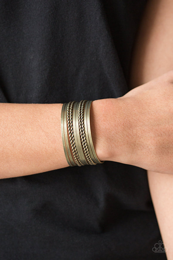 Paparazzi Perfectly Patterned - Brass - Stacked Brass Rods - Cuff Bracelet - Lauren's Bling $5.00 Paparazzi Jewelry Boutique